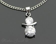 SILVER SP CUBIC ZIRCONIA DOUBLE ROUND PENDANT NECKLACE STAINLESS STEEL CHAIN