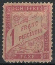 "FRANCE STAMP TIMBRE TAXE 39 "" DUVAL 1F ROSE SUR PAILLE 1896 "" NEUF  A VOIR  M060"
