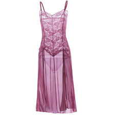 WOMEN'S LINGERIE GOWN Size 16 18 US PRETTY SEXY PINK LACE 2 PIECE NIGHTIE THONG