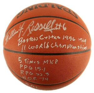 The Finest Bill Russell Signed Heavily Inscribed STAT Basketball #5/11 JSA COA