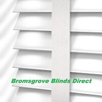 50mm Made To Measure White Wooden Venetian Window Blind Real Wood With Tapes