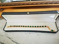 18k Yellow gold finish Exotic Green emerald created diamonds tennis bracelet New