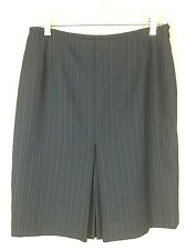 Anne Klein Black Pinstriped Pencil Skirt Front Back Kick Pleats Career Skirt 4P