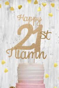 Personalised gold 21st glitter cake topper birthday 18 21 30 40 50 60 70 80 rose