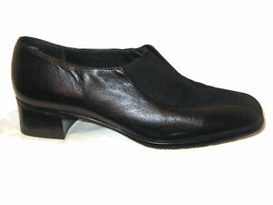 Munro American Womens Slip-on Loafers Dress Shoes USA 9.5 M Black Leather