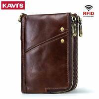 KAVIS Rfid 100% Genuine Crazy Horse Leather Wallet Men Small Walet