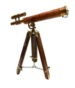 """Nautical Navy Brass Double Barrel~Telescope 18"""" With Wooden Tripod Stand Replica"""