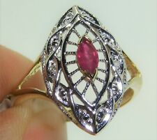 9CT MARQUISE RUBY DIAMOND RING  ART DECO 9 CARAT YELLOW GOLD CLUSTER  O