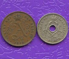 Belgium 1912 2 Centimes & 1920 5 Centimes Coins