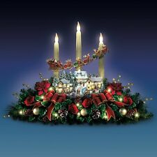 Thomas Kinkade Christmas Sculpture Floral Village Holiday Candle Centerpiece