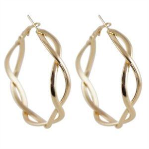 Gold Colour Plated 5.5cm lnfinity design hoop earrings
