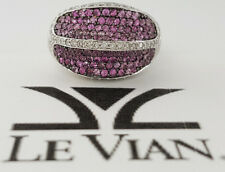 LeVian 18k White Gold 1.90 ct Pink Sapphires & Round Cut Diamond Band / Ring