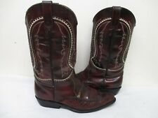 Denver Black Cherry Leather Cowboy Boots Womens Size 26.5 Mexico