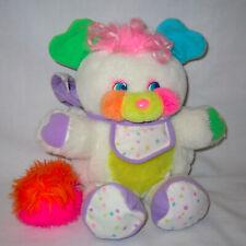 """1986 Vintage 11"""" Baby Bibsy White Popples Plush Stuffed w/Bib, Booties, Bonnet"""