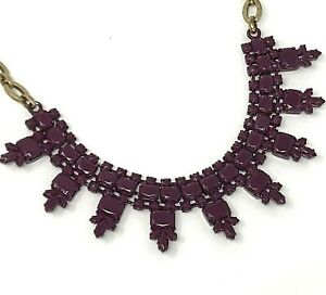 """J CREW Statement Necklace Opaque Purple Magenta Signed Gold Tone Chain 19"""""""