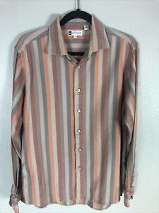 Bachrach Men's Sz L Thick Striped Button up Long Sleeve Standard Cuff