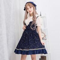 Women's Summer Dress Starry Night Printed Short Sleeve Lolita Chiffon Dress