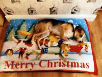 KosiPet® Large Waterproof Rhomboid Memory Foam Chips Cushion Dog Bed CHRISTMAS