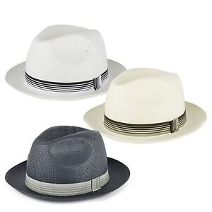 Straw Style Trilby Hat with Striped Grosgrain Band