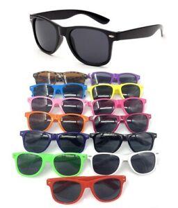 UNISEX SUN Sunglasses Retro Nerd Glass Purple Black Pink Red White Blue WAYFARE
