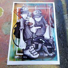 THINKING CAPS GRAFFITI ART PRINT A4 SIGNED WALL ART ORIGINAL PAINTING HOAKSER