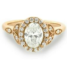 1.41 Carats G-Si1 Gia cert. Oval Diamond Halo Engagement Ring - 14k White Gold