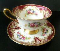 Shelley Regal Rose Footed Teacup and Saucer Set England Vintage Antique Roses