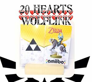 20 Hearts Wolf Link Amiibo Card Tag Legend Of Zelda Breath Of The Wild No Figure