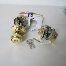 Kwikset Keyed Entry and Deadbolt Combo 690 CP Brass - As Is - no hardware