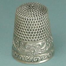 Antique Sterling Silver Bow, Ribbons & Flowers Thimble by Waite * Circa 1900s