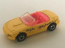 Hot Wheels Miata Yellow Convertible Toy Car Pink Interior 1990 Diecast Loose