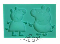 peppa pig Silicone Mould Mold  Fimo Sugar craft Cupcake Topper chocolate kids