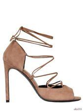 new $895 Saint Laurent 'Kate' YSL beige suede stiletto heels shoes 40 10 - SEXY