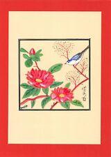 Dessin encre de chine & aquarelle Japon Hand made china ink signé Geneviève n39