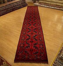 2.8 x 16.3 High Quality Hand Knotted Veggie Dye Fine Wool Afghan Turkoman Runner