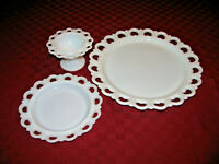 "Vintage Lace Edge Milk Glass Anchor Hocking Bowl 5"" Med Plate *8  Lg Plate 13"""
