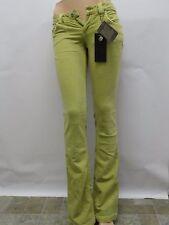 Nuovi con Etichetta Antik Denim Verde Donna Pantaloni Jeans Aderente Sexy Taglia