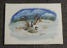 "Original unframed 5""x 7"" oil painting of Canada Geese in Snow Covered Field"