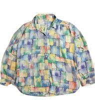 Vintage All Hours Womans Multicolored Pattern Button Down Size Large