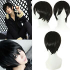 Fashion Men Male Handsome Black Short Straight Cosplay Party Hair Wig Full Wigs