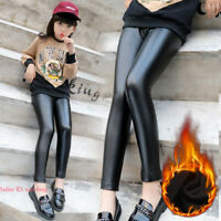 Kids Girls Warm Leggings Stretchy Pu Leather Fleece Lined Pants Thermal Trousers
