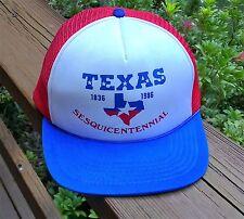 Vtg Snapback Baseball Hat Cap TEXAS 1986 Red White Mesh Hipster Trucker Painter