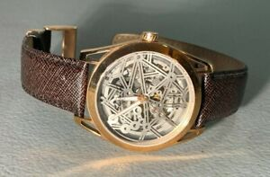 CLEAN MENS KENNETH COLE SKELETON DIAL GOLDEN AUTOMATIC  WATCH 10018766