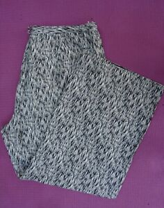 Pure Collection Linen & Silk Wide Leg Black & Ivory Trousers Size UK 18 / 44 VGC