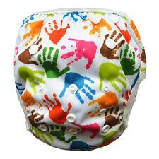 Handprint Swim Diaper Nappy Pant Adjuatable Reusable Snaps Baby Toddler One Size
