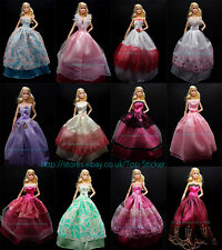 13/15 Items 5X Party Wedding Gown Dresses Clothes 10 Pairs Shoes For Barbie Doll