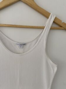 James Perse Classic Ribbed Long Tank Singlet - White - Size: 1
