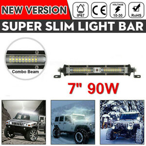 1x 7'' 90W LED Work Light Bar Offroad Boat Truck Lamp Spot Flood Combo 12V 24V