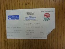 06/03/1993 Rugby Union Ticket: England v Scotland [At Twickenham] (Torn Corner,