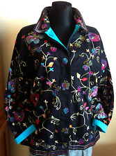QUACKER FACTORY Black Jacket Butterflies Flowers Embroidered & Beaded M Cotton